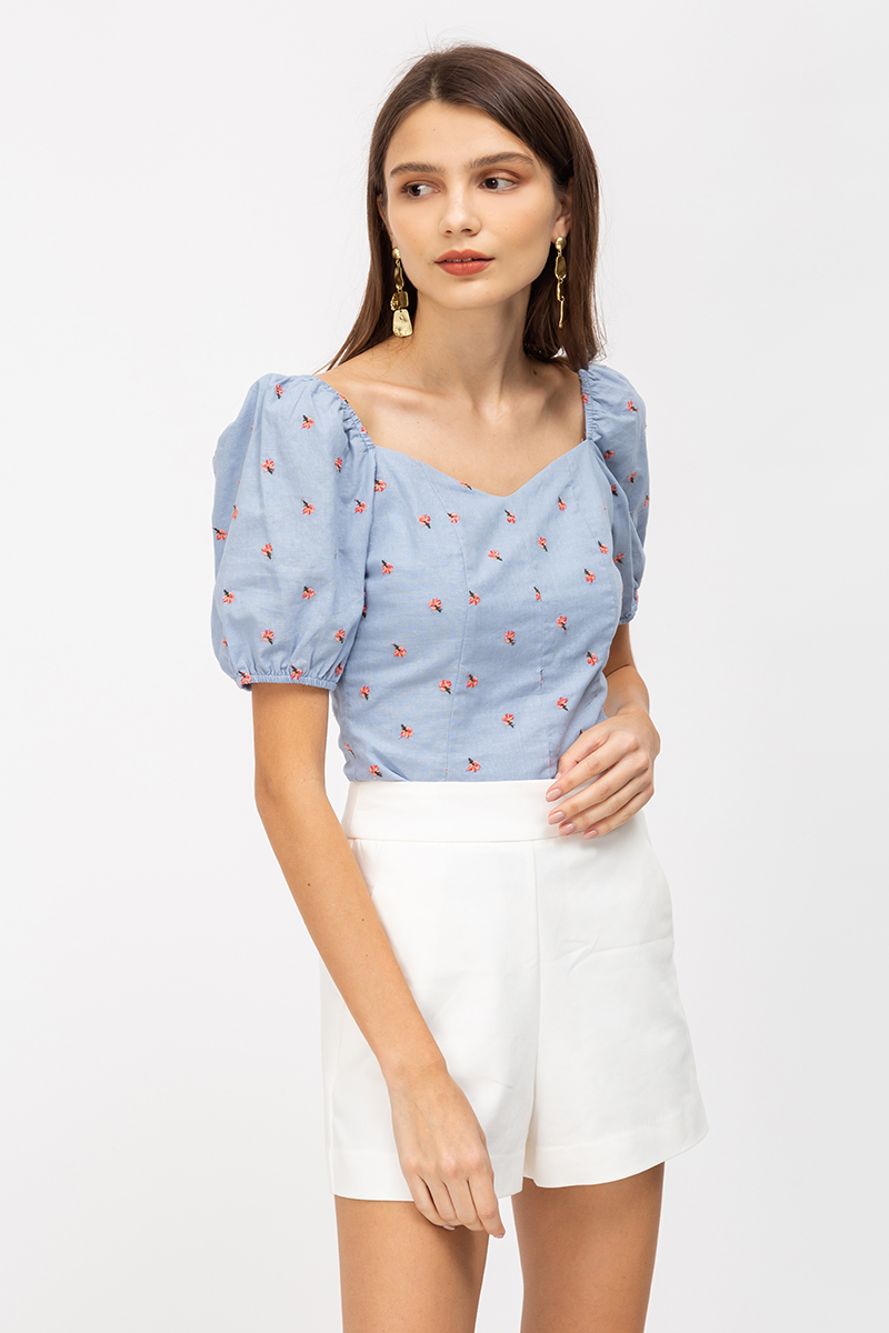AMANDIE FLORAL EMBROIDERY PUFF SLEEVE TOP