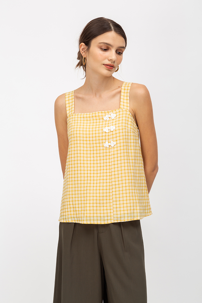 *PREORDER* ELISE CHINESE BUTTON CHECKERED TOP