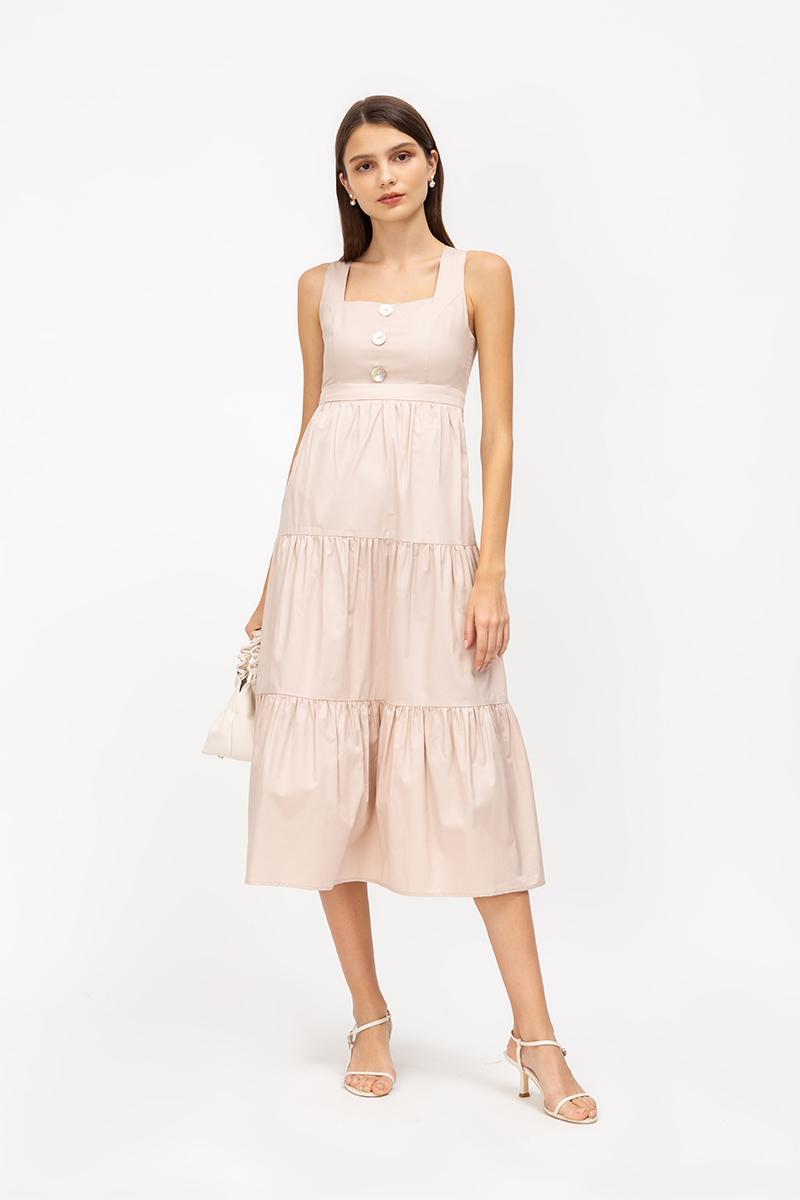 *PREORDER* ALLY TIERED POPLIN MIDI DRESS