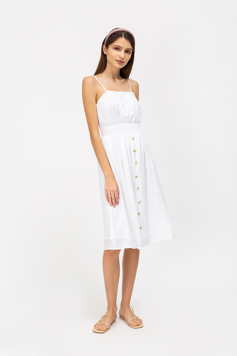 KENDRA FRILLS NECKLINE LINEN DRESS