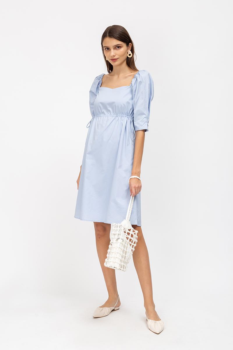 LANELLE POPLIN TIEWAIST FLARE DRESS