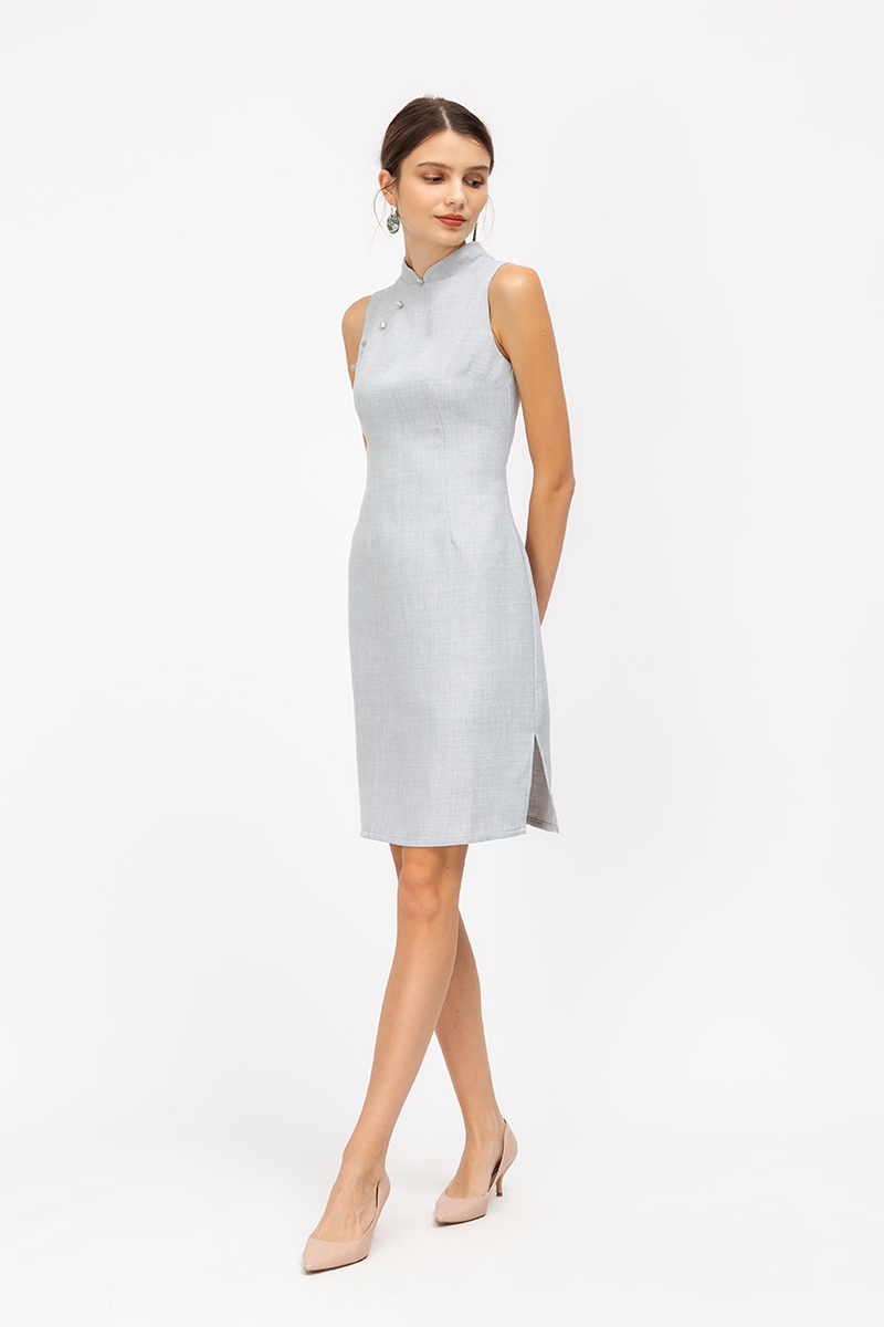 DARA TWEED SHEATH MIDI CHEONGSAM