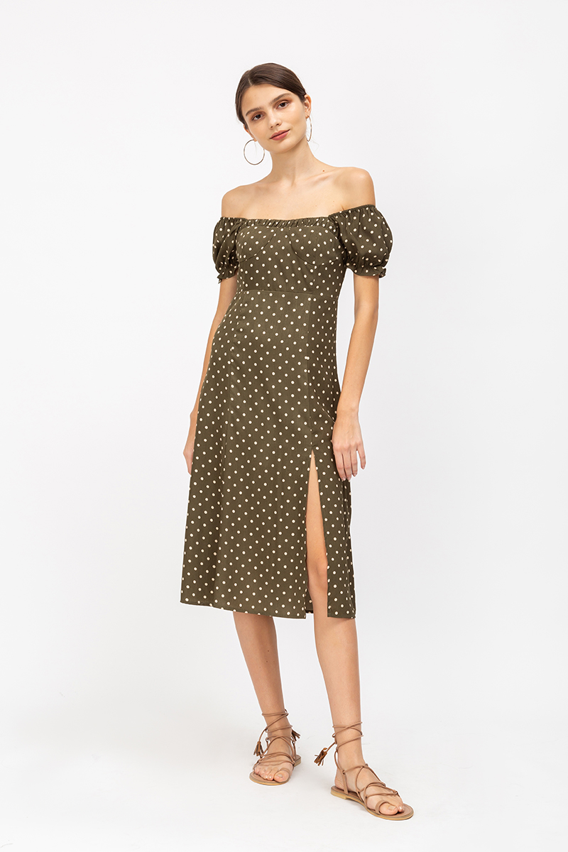 DALYA POLKADOT DRESS W SLIT