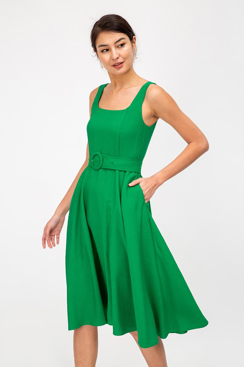 BRIELA SQUARENECK SWING DRESS W BELT