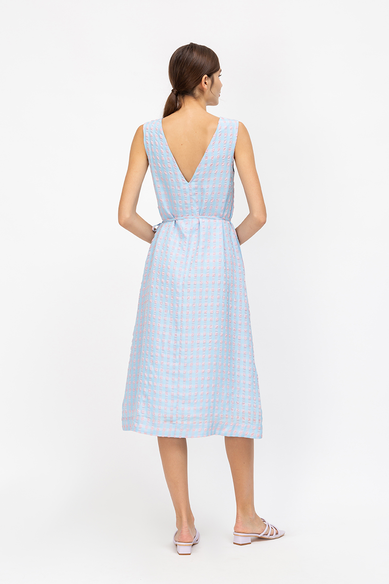 EVE TEXTURED GINGHAM MIDI DRESS W SASH