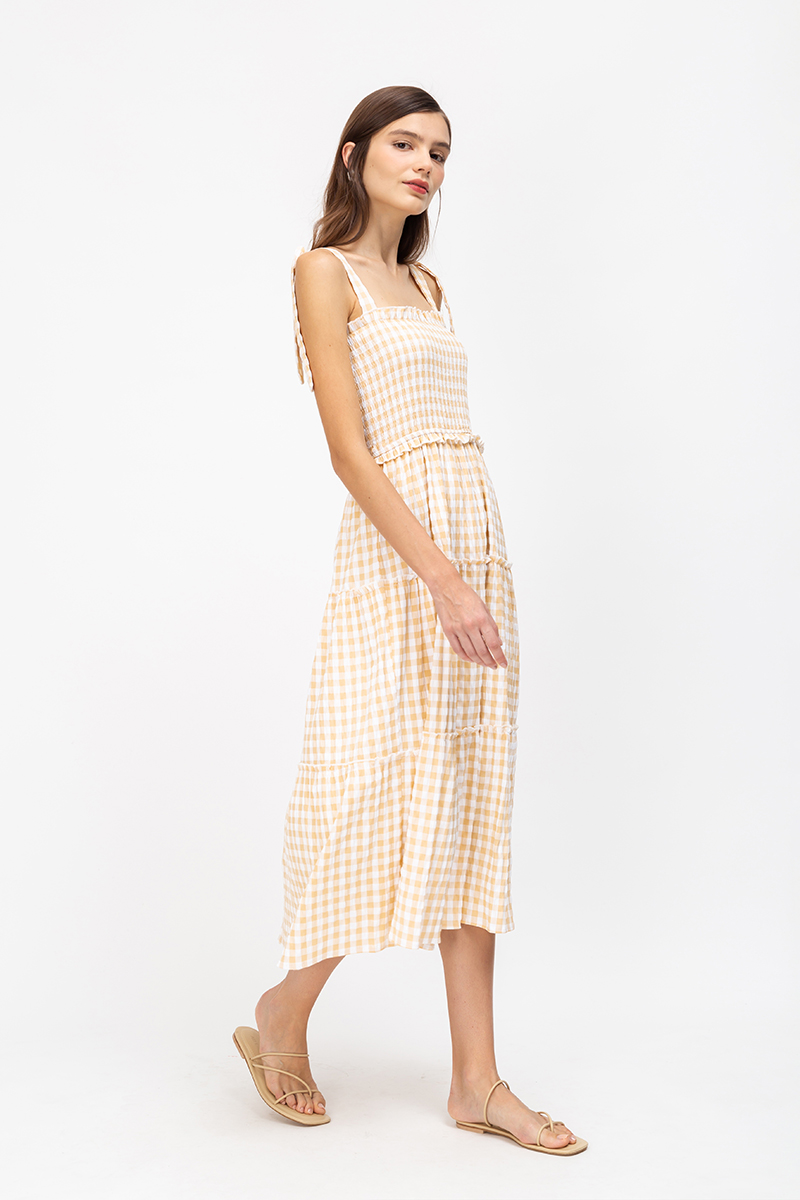 *BACKORDER* CASSIDY GINGHAM SMOCKED MIDI DRESS