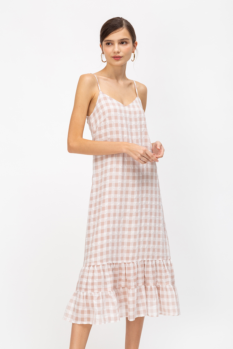 *BACKORDER* MOLLIE GINGHAM ORGANZA MIDI DRESS