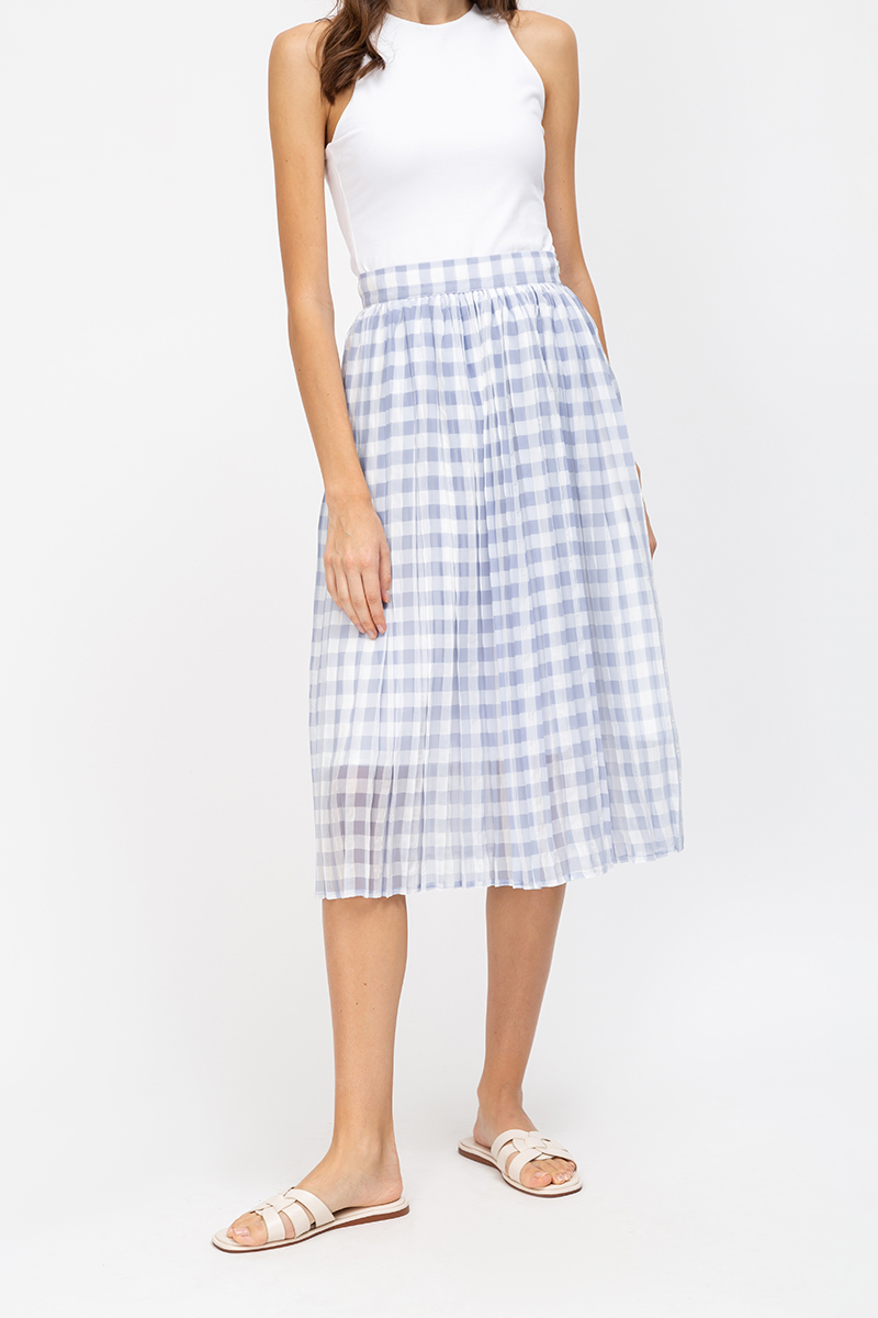 LAYLA GINGHAM ORGANZA PLEATED SKIRT