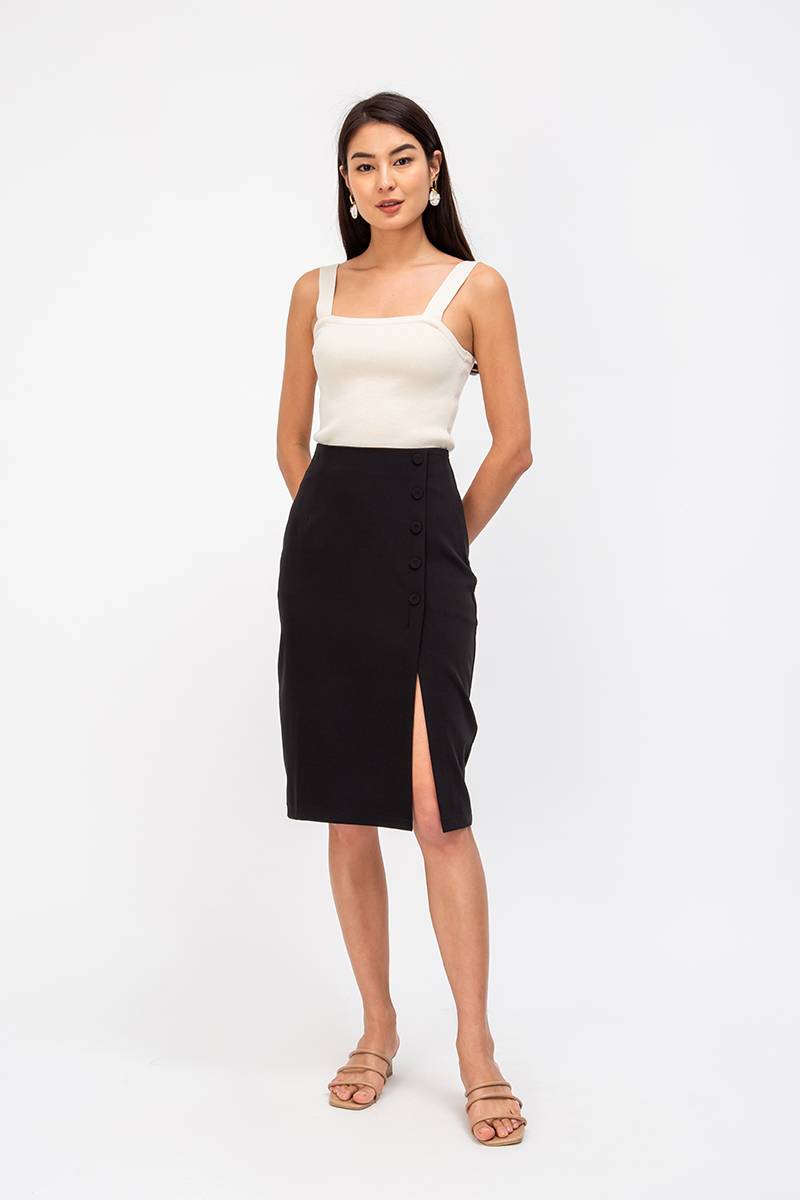 EDINA SIDE BUTTONS PENCIL SKIRT