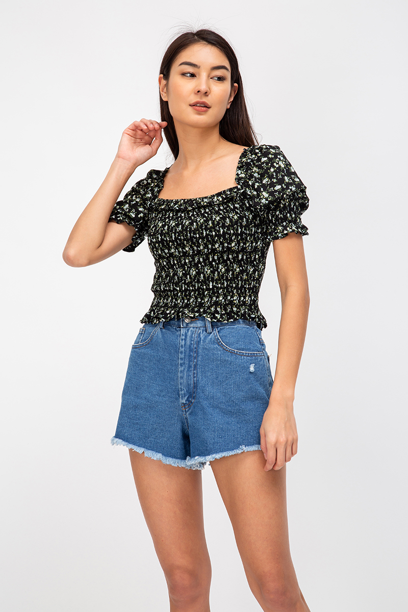 ELLIOT FLORAL SMOCKED TWO WAY TOP