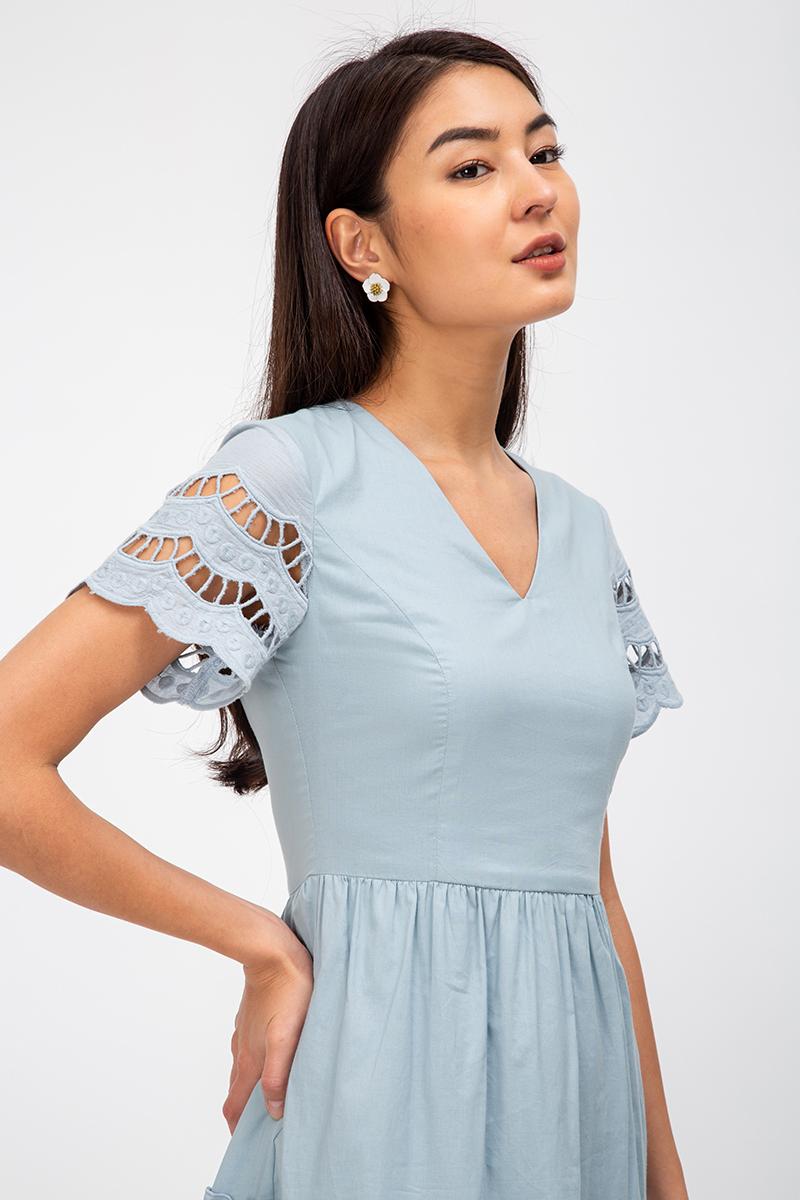 LINLEY SCALLOP TRIM EYELET DRESS