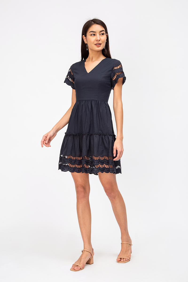 LINLEY SCALLOP TRIM EYELET DRESS