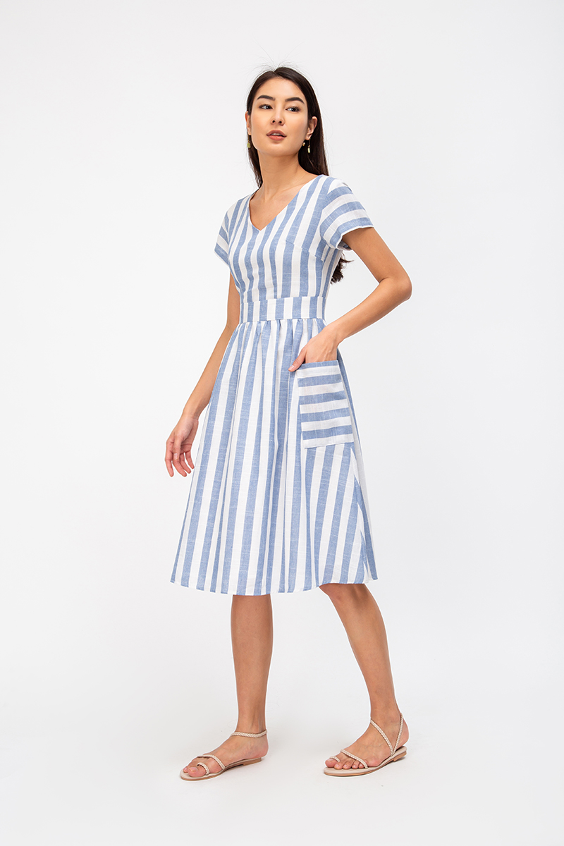 *BACKORDER 2* LAURENE STRIPE MIDI DRESS