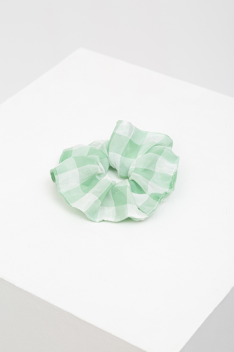 SET OF 3: CHIFFON GINGHAM SCRUNCHIES